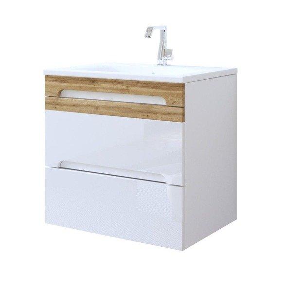 Nowoczesna szafka pod umywalkę 60 cm biały połysk Galaxy White
