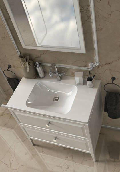 Oristo Szafka z umywalką MONTEBIANCO 80 cm biała + lustro