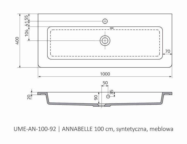 Oristo Umywalka meblowa 100 cm ANNABELLE