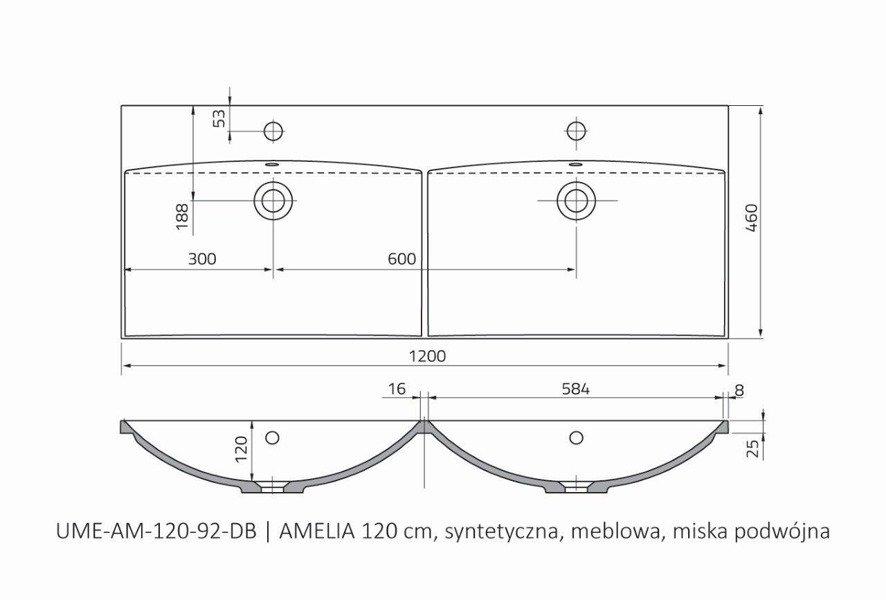 Oristo Umywalka meblowa 120 cm podwójna AMELIA
