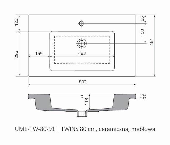 Oristo Umywalka meblowa 80 cm TWINS