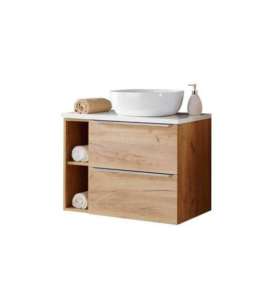 Szafka 60 cm z umywalką, blatem i szafką Capri dąd 820 z białym blatem