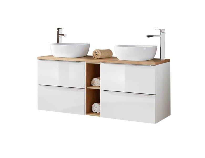 Szafki 60 cm z umywalkami, blatem i szafką niską Capri biały 820 z blatem dębowym