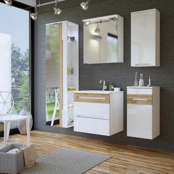 Witryna łazienkowa z lustrem Galaxy White